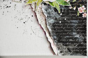 Prezent na 18 urodziny, praca ręcznie robiona w kolorach czarnym, różowym i białym z elementami kwiatowymi.