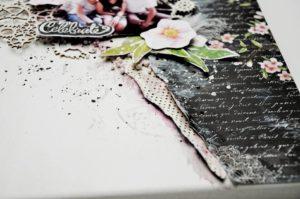 Prezent na 18 urodziny, praca ręcznie robiona w kolorach czarnym, różowym i białym z elementami kwiatowymi