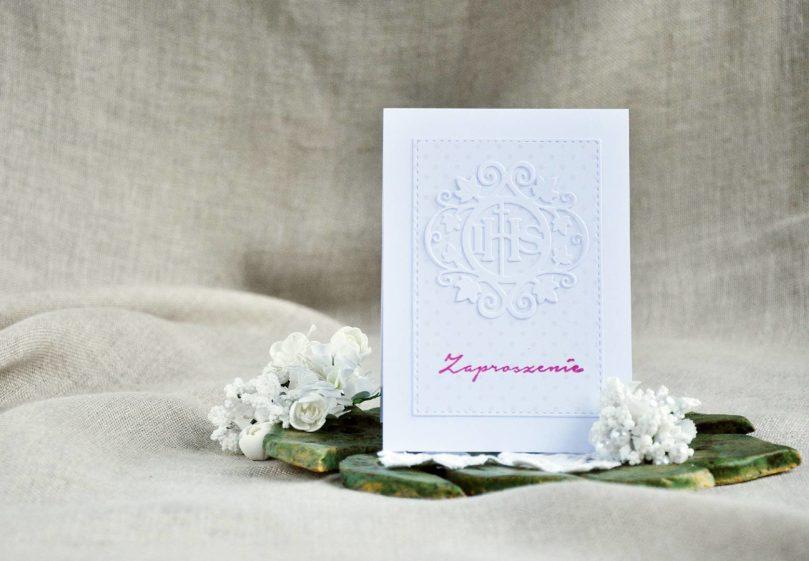 Zaproszenia różowe na Pierwszą Komunię Świętą ręcznie robione.