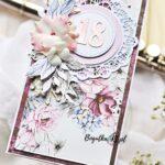 kartka z kwiatami w fioletach z okazji 18 urodzin